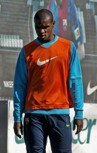 Eric Abidal training with Barcelona